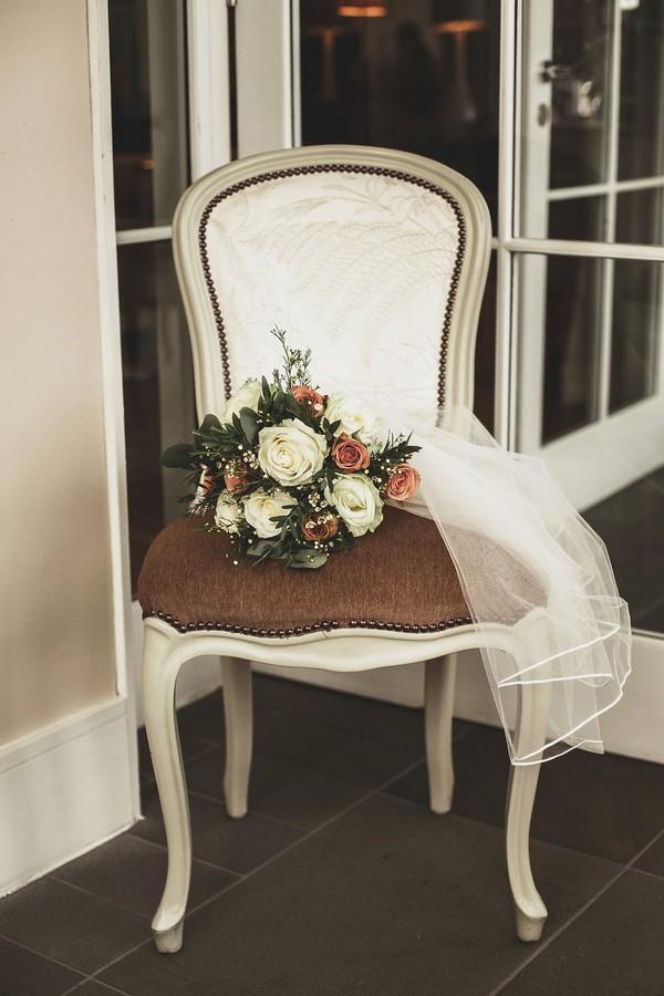 Wedding bouquet on chair