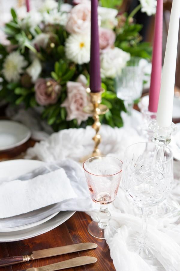 Glasses on wedding table