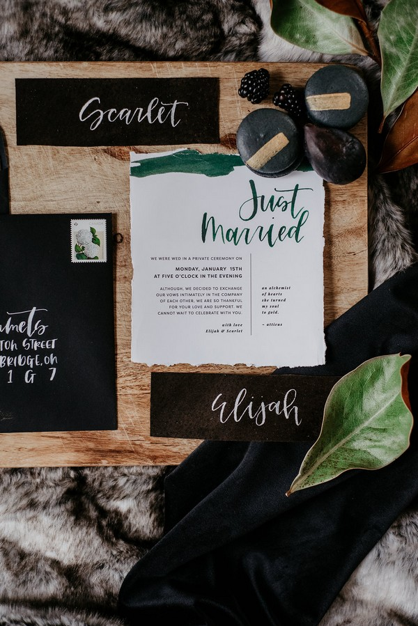 Black and green autumn wedding stationery