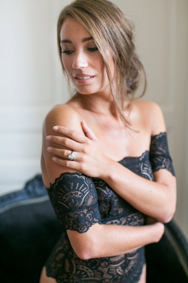 Bride in black lingerie