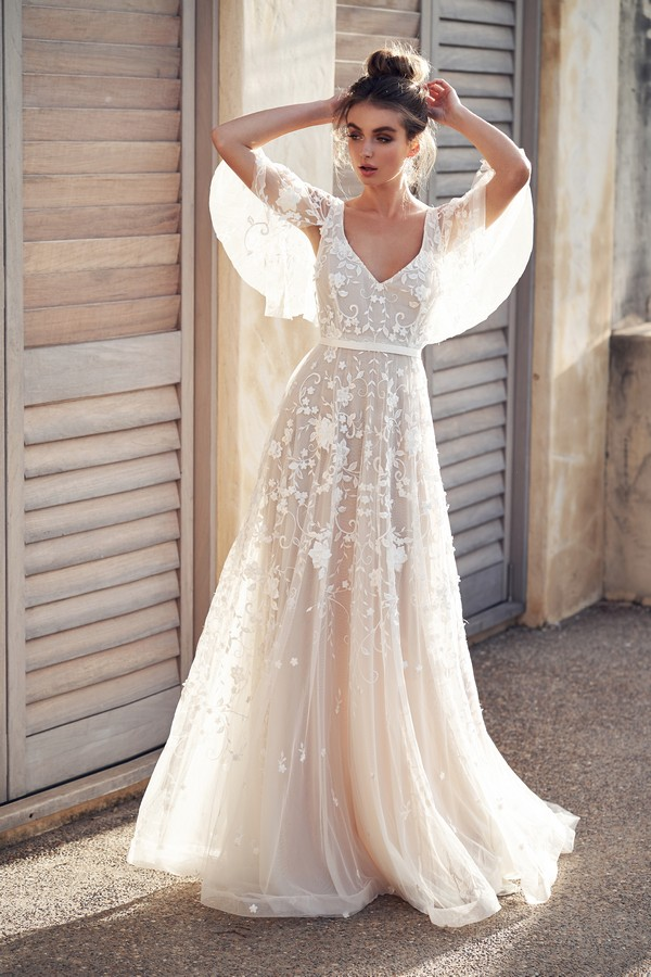 Amelie Wedding Dress with Draped Sleeves from the Anna Campbell Wanderlust 2019 Bridal Collection