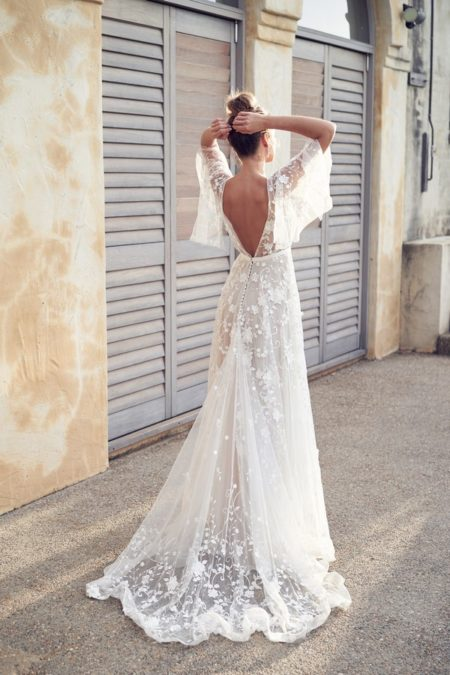Back of Amelie Wedding Dress with Draped Sleeves from the Anna Campbell Wanderlust 2019 Bridal Collection