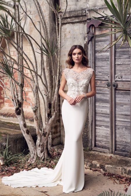 Aria Wedding Dress with Crepe de Chine Skirt from the Anna Campbell Wanderlust 2019 Bridal Collection
