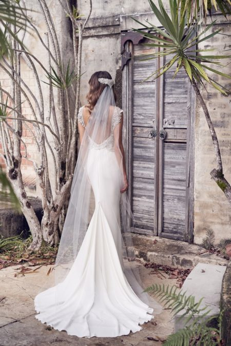 Back of Aria Wedding Dress with Crepe de Chine Skirt from the Anna Campbell Wanderlust 2019 Bridal Collection
