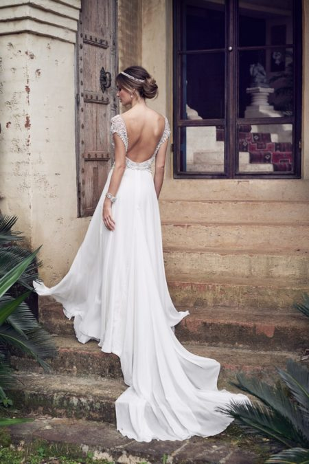 Back of Aria Wedding Dresswth Summer Skirt from the Anna Campbell Wanderlust 2019 Bridal Collection