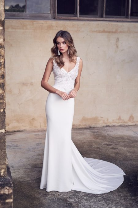 Jamie Wedding Dress with Crepe de Chine Skirt from the Anna Campbell Wanderlust 2019 Bridal Collection