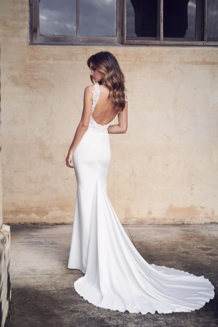 Back of Jamie Wedding Dress with Crepe de Chine Skirt from the Anna Campbell Wanderlust 2019 Bridal Collection