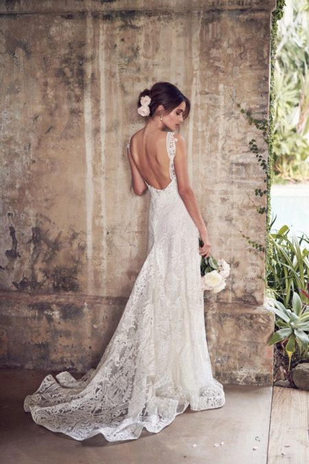 Back of Jamie Wedding Dress with Empress Lace Skirt from the Anna Campbell Wanderlust 2019 Bridal Collection