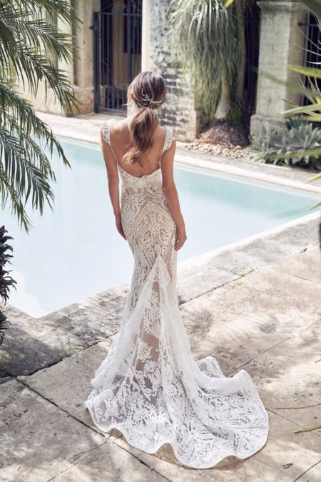 Back of Jamie Wedding Dress with Trumpet Skirt from the Anna Campbell Wanderlust 2019 Bridal Collection