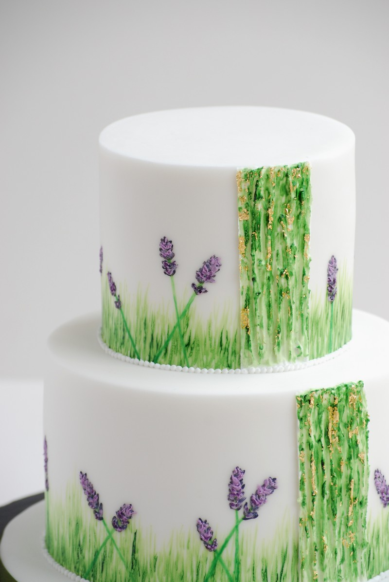 Lavender and Cool Grass Two Tier Cake