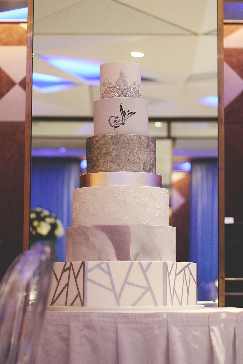 Modern Silver and Lilac Multi-Tiered Wedding Cake
