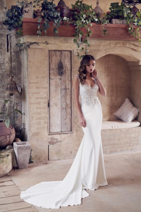 Paige Wedding Dress with Crepe de Chine Skirt from the Anna Campbell Wanderlust 2019 Bridal Collection