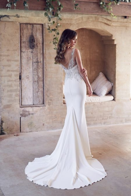 Back of Paige Wedding Dress with Crepe de Chine Skirt from the Anna Campbell Wanderlust 2019 Bridal Collection
