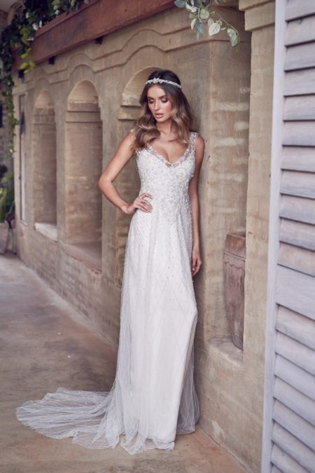 Paige Wedding Dress with Embellished Skirt from the Anna Campbell Wanderlust 2019 Bridal Collection