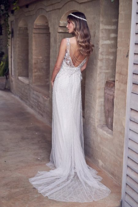 Back of Paige Wedding Dress with Embellished Skirt from the Anna Campbell Wanderlust 2019 Bridal Collection