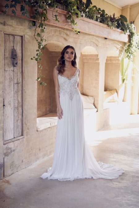 Paige Wedding Dress with Silk Tulle Skirt from the Anna Campbell Wanderlust 2019 Bridal Collection
