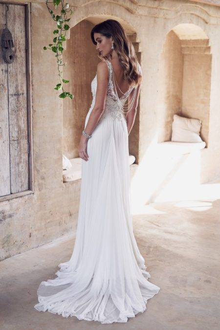 Back of Paige Wedding Dress with Silk Tulle Skirt from the Anna Campbell Wanderlust 2019 Bridal Collection