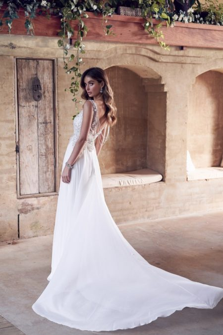 Back of Paige Wedding Dress with Summer Skirt from the Anna Campbell Wanderlust 2019 Bridal Collection