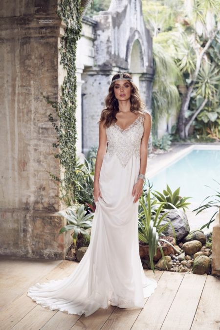 Paige Wedding Dress with with Slimline Chiffon Skirt from the Anna Campbell Wanderlust 2019 Bridal Collection