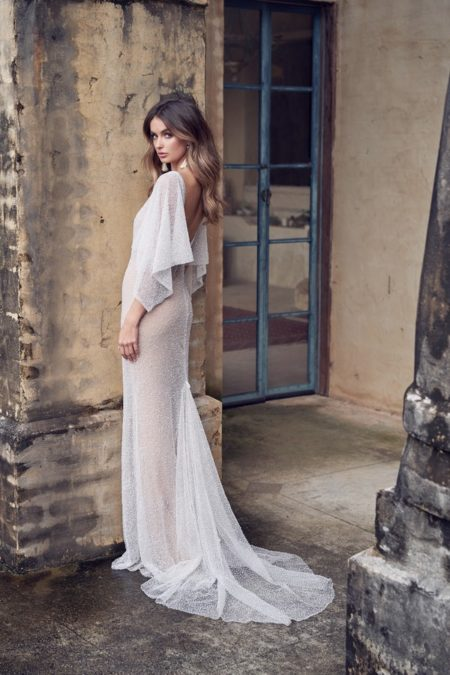 Back of Wanda Wedding Dress with Draped Sleeves from the Anna Campbell Wanderlust 2019 Bridal Collection