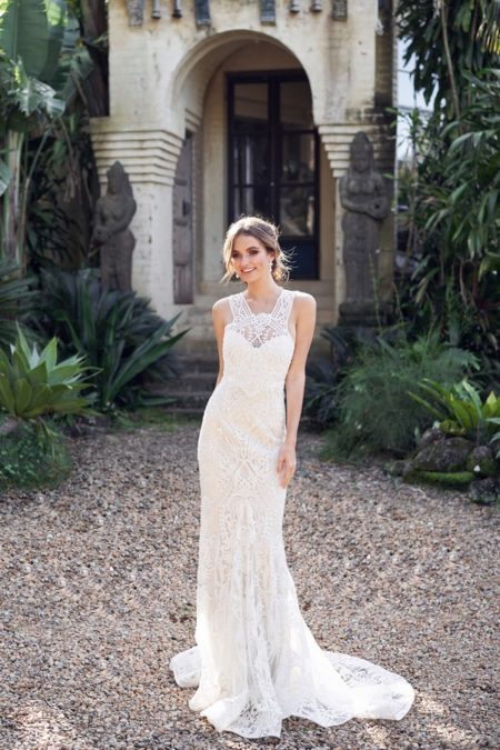 Winter Wedding Dress with Trumpet Skirt from the Anna Campbell Wanderlust 2019 Bridal Collection