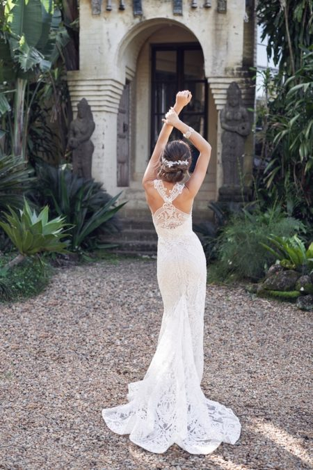 Back of Winter Wedding Dress with Trumpet Skirt from the Anna Campbell Wanderlust 2019 Bridal Collection