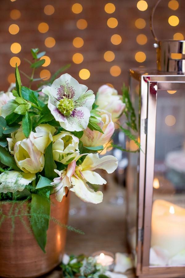 Wedding flowers in copper pot