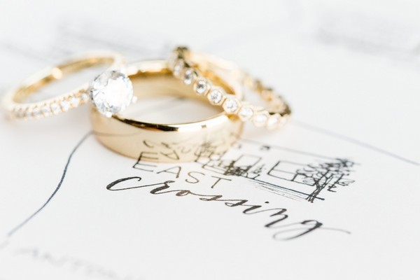 Gold wedding rings on top of wedding stationery