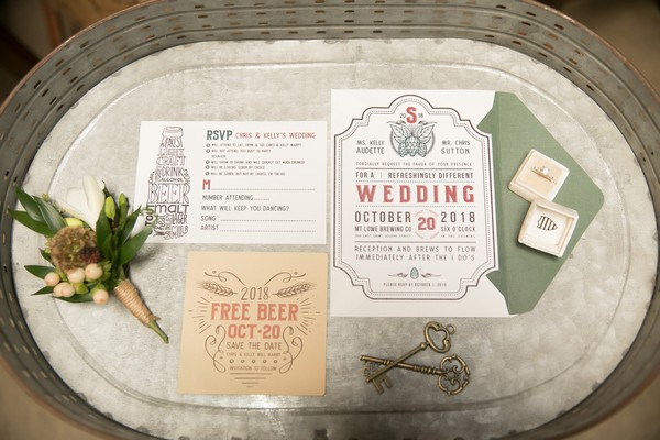 Stationery for brewery wedding in beer bucket