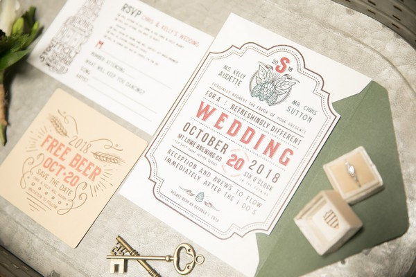 Brewery wedding stationery