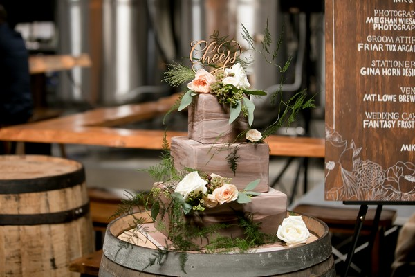 Square three tier brown ombre wedding cake