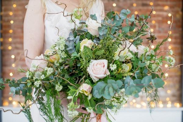 Oversized foliage wedding bouquet