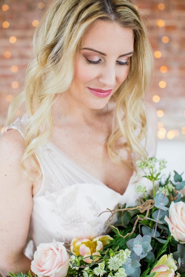 Bride wearing copper eyeshadow
