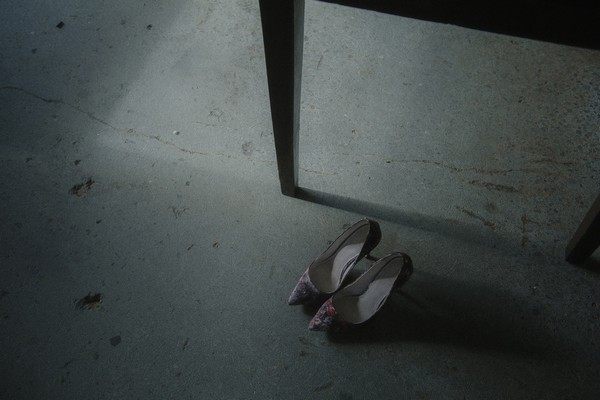 Bridal shoes on warehouse floor