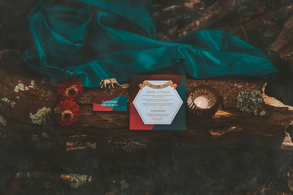 Wedding stationery on fallen tree in woods