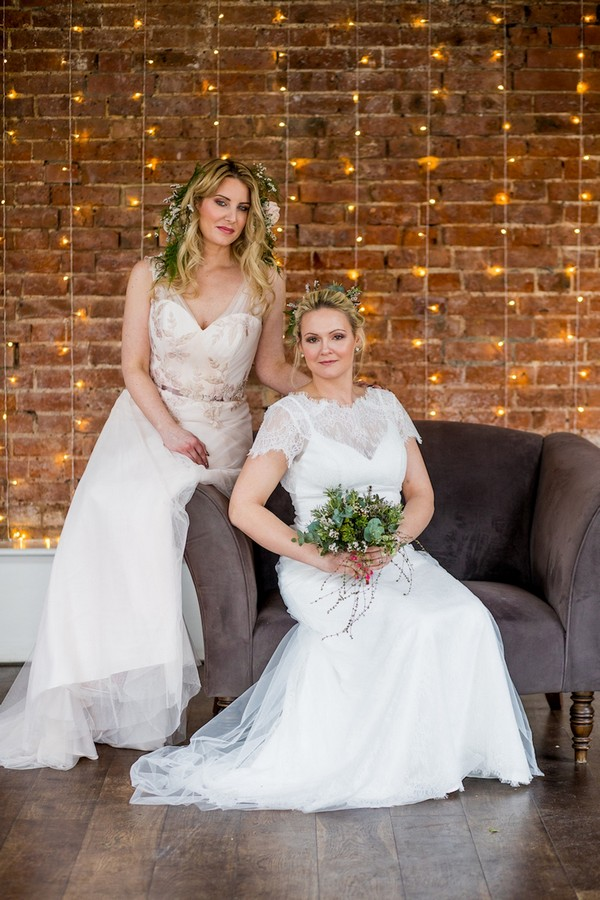 Two brides sitting on chair