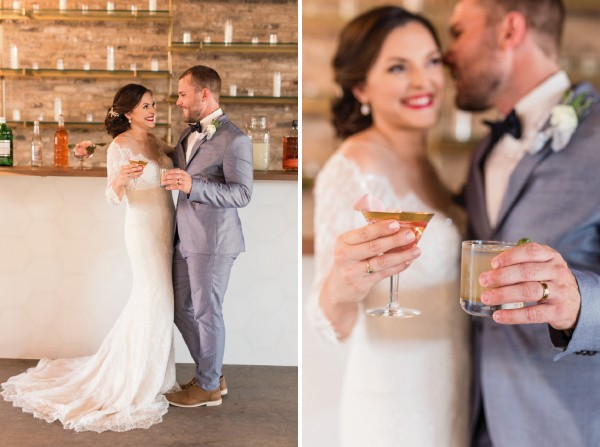 Bride and groom drinking cocktails in bar at East Crossing