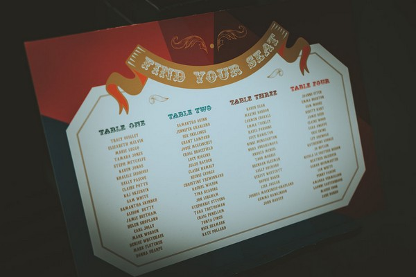 1920's carnival style wedding table plan