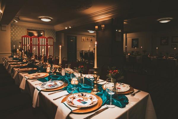 Long wedding tables in Penventon Park Hotel