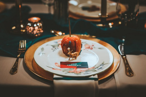Toffee apple on wedding plate