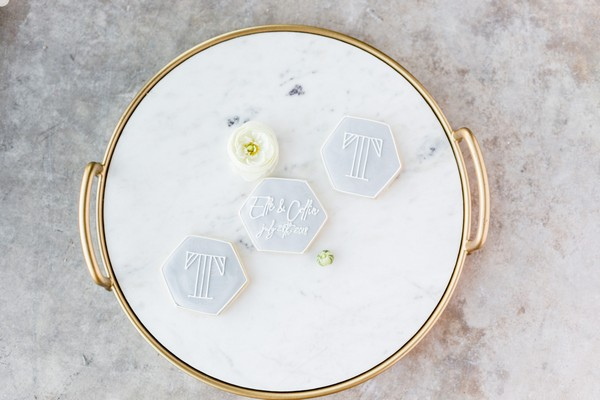 Tray with hexagon shaped wedding biscuits