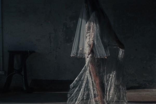 Bride wearing Gaia wedding dress with veil