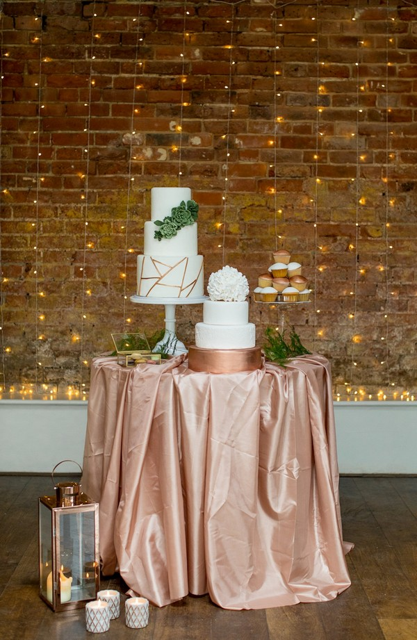 Wedding cake table with copper tablecloth