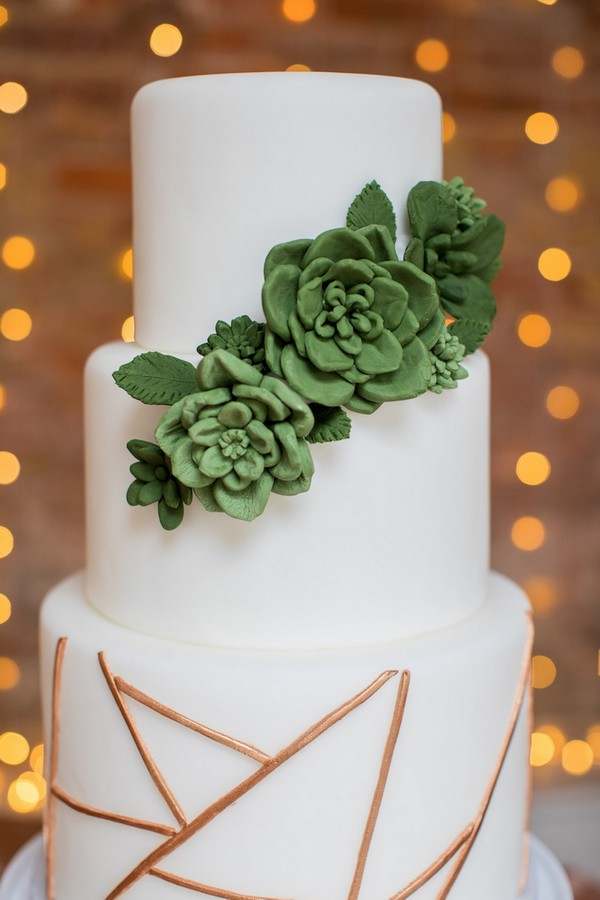 Wedding cake with succulent and geometric copper detail