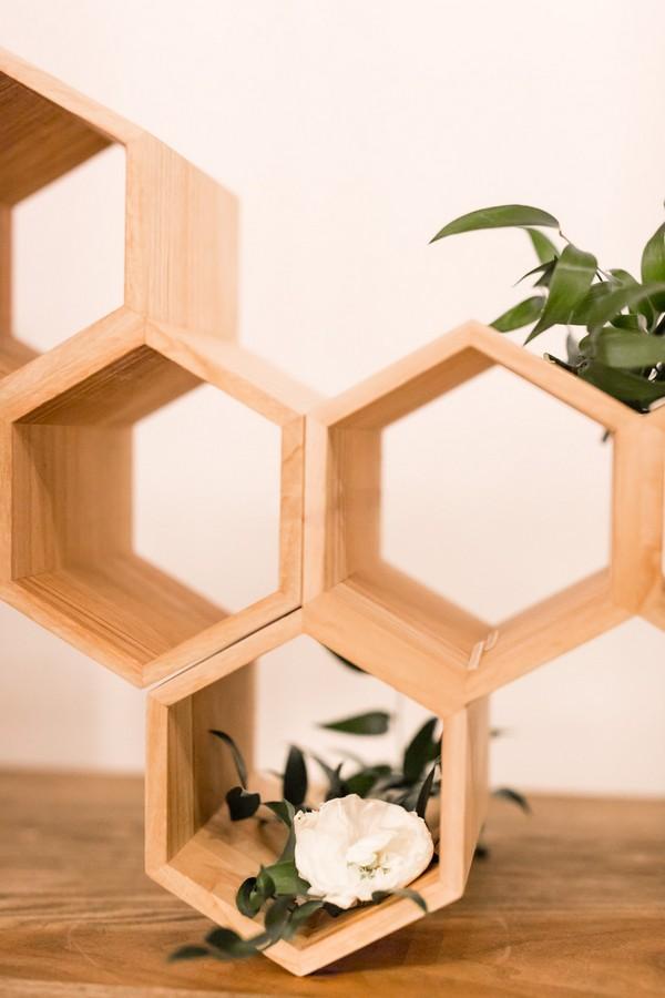 Wooden honeycomb style backdrop