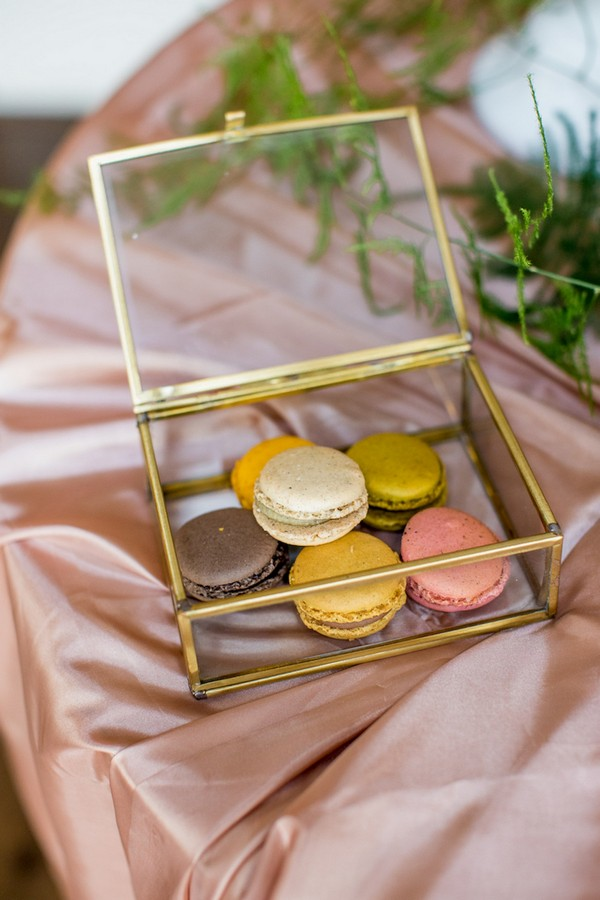 Copper and glass box of macarons