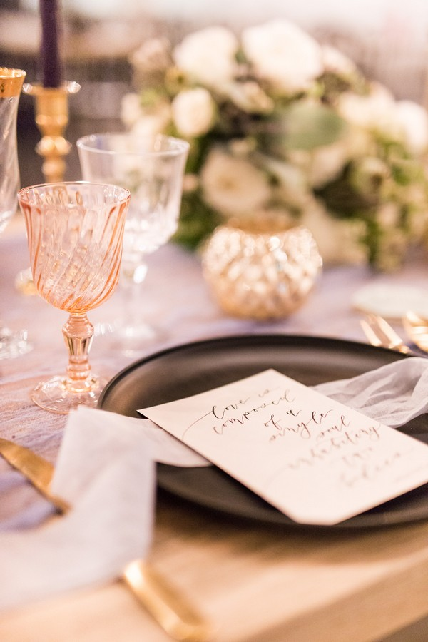 Wedding menu on black plate