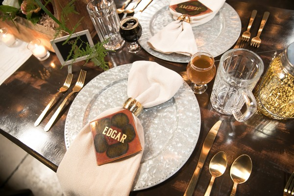 Wedding place setting with tile place name