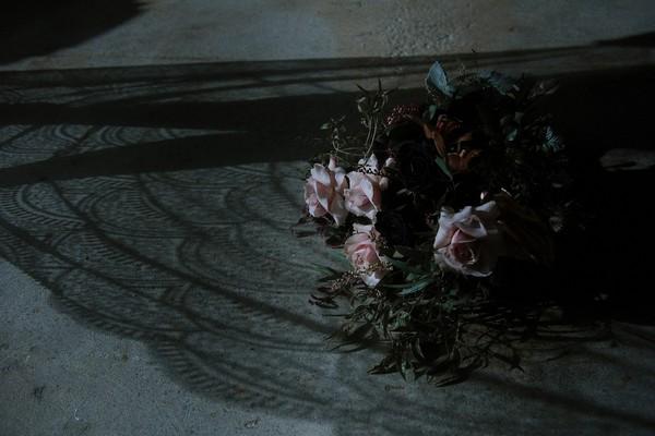 Bridal bouquet on warehouse floor