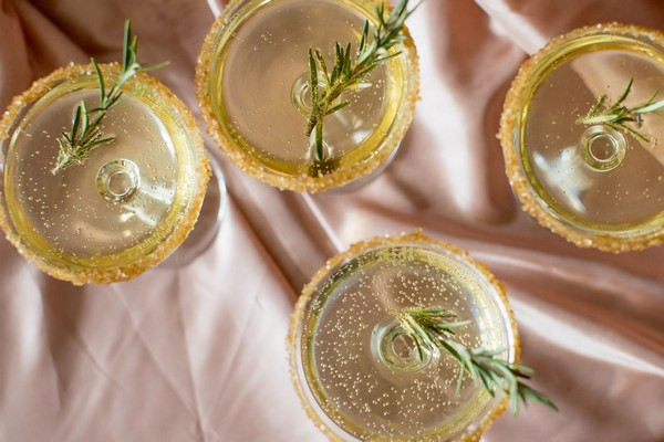 Drinks with sprigs of rosemary